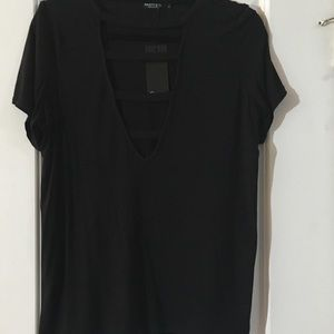 Nasty Gal Black Short Sleeved Cut Out Top